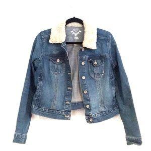 Shearling Collared Denim Jacket